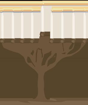 A lit menorah