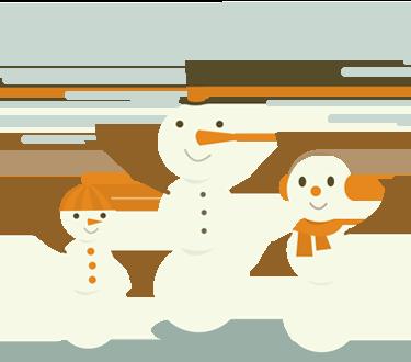 Three happy snowmen