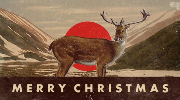 Merry Christmas Dear in mountain scenario